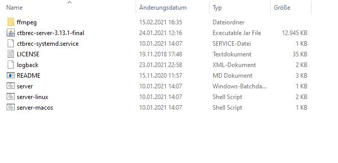 Das ist der Inhalt des Archives mit den Programm Dateien